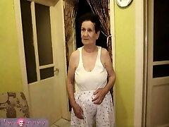 granny with xxl boobs has fun