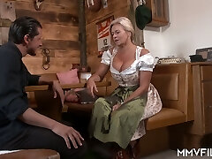 Wrinkled auburn pub owner with pierced cunt Maria Montana is pounded doggy