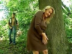 Elderly Woman Gets Fucked Outside