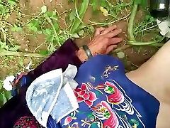 chinese grandmother in nature