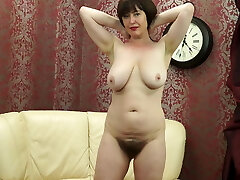 Posh Mother with big saggy tits and hairy pussy
