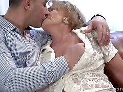 Wrinkled ugly old super-bitch Sally G gets her mature poon fucked doggy