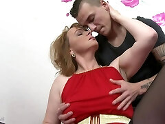 Mommy with saggy tits gets taboo sex with son