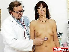 Lada the horny gramma got her hirsute beaver examined