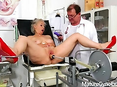 Good looking granny made to cum by her gyno doctor with a nailing machine