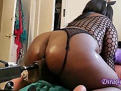 Ebony Lubricated Fishnet  BBW Takes Sex Machine In Fat Bum W