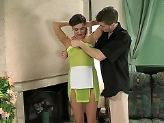 Russian mom changing front of son - Helena