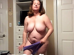 BBW mommy with hairy pussy tries on panties and BBC fantasy