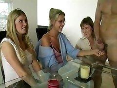 Three Moms Tugging Cock