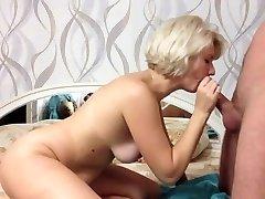Beautiful platinum-blonde give  amazing suck off