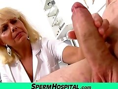 Wicked chick doctor Koko cfnm medical center handjob