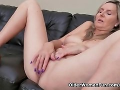 Blonde cougar Velvet Skye drips her pussy juice on the couch