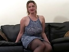 Blonde fat mature gets fucked by two black dudes
