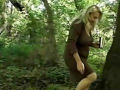 Chunky Granny's Hairy Cunt Pounded In The Woods