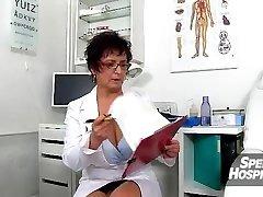 Red-hot milf Maya jizm on tits after cfnm handjob