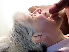 Grandmother Deepthroats Him Dry