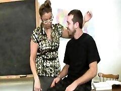 Mature stroking teacher makes schoolgirl cum