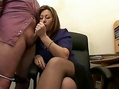 Hot Mature Assistant Jerks The Spunk From Bosses Cock !