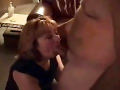 Horny housewife bj's hubby's giant cock friend