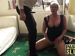 Sexy blond mature deepthroats and gets fucked by a humungous cock