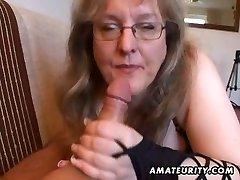 Busty inexperienced wife hj and blowjob