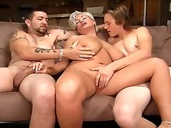 Ash-blonde mommy in a threesome.