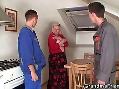 Two repairmen fuck huge-titted grandma from both completes