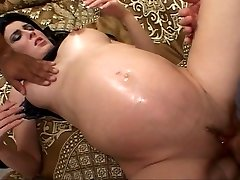 Ebony haired future mother fucked while pregnant