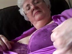 Granny with immense boobs upskirt no panties tease