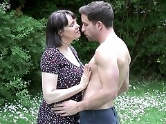 Big breasted Brit MOM poking not her son