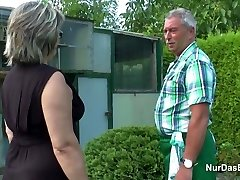 German Grandpa and Granny fuck Rigid in Garden