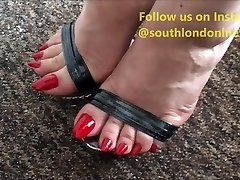 Lengthy Toenails Footjob, Feet Shagging, Handjob of Lady Lev