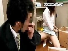Young Japanese office tramp gets it on with her dirty old chief