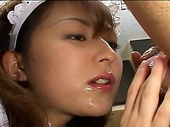 Asian maid satisfies her boss