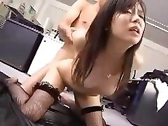 Japanese employee works her boss for a little after lovemaking reward