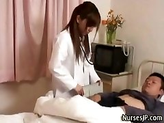 Horny japanese nurse stunner taunts