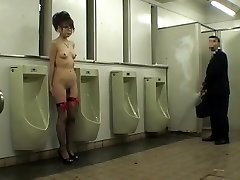 Naked Japanese girl fondled in dudes�s wc