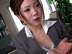 Four horny folks gullet fuck one shy Asian secretary in the office hard