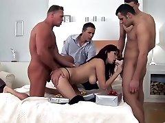 Amazing pornstar Aisha Sun in fabulous gangbang, brunette sex scene