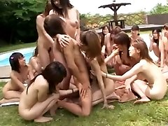 Japanese nymphs' pool side party