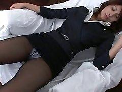Pantyhose Asian Office Dame Teasre