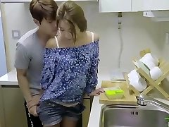 korean glamour bevy hot romantic kitchen fuck with sex toy