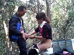 Asian street prostitute fuckt in the woods
