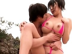 Good-sized tit Asian fucked at the beach