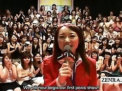 Subtitled CFNM Asian large handjob blowjob event