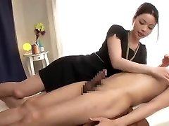 A relaxing massage with a ... very lengthy jizz shot!