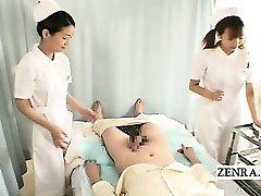 Subtitles CFNM two Japanese nurses hand-job with cumshot