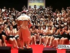 Subtitled CFNM Chinese massive hand-job blowjob event
