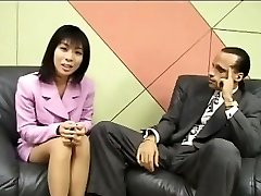 Petite Japanese reporter guzzles cum for an interview