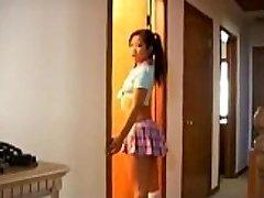 Naughty asian schoolgirl manmeat sucking lessons